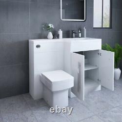 White RH Combi Bathroom Furniture Vanity Unit Suite + Basin Sink + Boston Toilet